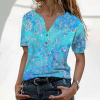 Summer Women's Printed Buttons Short Sleeves V-neck Casual Tee Tops Short-sleeved T-shirt Fashion #g30