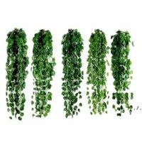1 шт. 2М искусственный плющ зеленый лист гирлянды растения лоза поддельных листвы цветы домашнее декор пластиковый искусственный цветок ротанга строка DWD6043