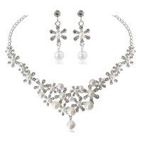 Set di gioielli da sposa floreali eleganti bianchi per le donne di cristallo collana di fidanzamento orecchini matrimonio T84A