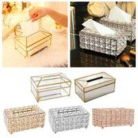 Caja de tejidos Cubierta de caja de cristal rectangular, caja de papel toliet decorativa, diamante