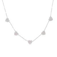 35 + 10cm 925 argent sterling mignon Danity Heart Charm Pendentif cadeau de Noël Chaîne délicate Collier Collier