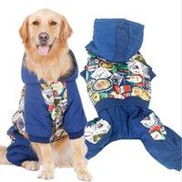 Autumn Winter Large Dogs Pet Clothes Warm Cotton Leisure Style Leash Hole Blue Coat Four Legs Dog Fashion Prints Apparel