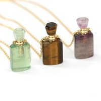 Pendant Necklaces Natural Perfume Bottle Crystal Stone Necklace Fluorite Amethysts Essential Oil Diffuser Charm Copper Chain Jewelry Gift