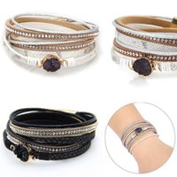 Link, Chain Women Multi-Layer Leather Bracelet Braided Rope Bangle With Magnetic Buckle Jewelry CX17