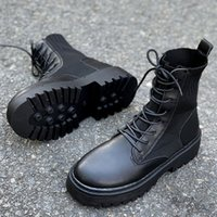 Autumn winter New Women Ankle Boots Knitting wool Flat bottom Martin Fashion casual shoes Waterproof leather Adding cotton Keep warm size EUR35-40 XK337