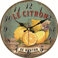 Vintage Inspired Coffee Shop Kitchen Home Retro Style Apple Wall Clock Silent Living Watches Large Fruit Art Clocks