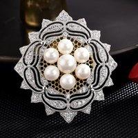 ピン、ブローチの高品質ビンテージブローチ模様の模様の真珠の安全メタルスーツピンジュエリー卸売