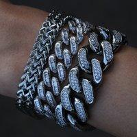 Diamonod zircon cuban chain bracelet jewelry set copper gold link chains bracelets wristband hip hop rap Fashion for men women will and sandy drop ship service