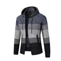 남자 카디건 스웨터 솔리드 코트 2021 새로운 패션 캐주얼 겨울 가을 후드 코트 두꺼운 지퍼 양모 스웨터 점퍼 male1