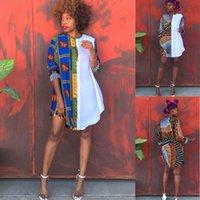 2021 Africano Dashiki Camiseta Vestidos Para Mulheres Plus Size Moda Longa Camisa Imprimir Patchwork Roupas étnicas Ancara Top Maxi Vestido