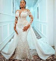 Plus Size Mermaid 2021 Brautkleider mit abnehmbarer Zug Perlen Spitze Appliziert Bridal Kleid Maßgeschneiderte Robe de Mariée