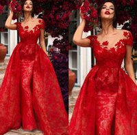 Charming Red Mermaid Evening Dresses Applique Lace Sheath Long Prom Dress Overskirt Illusion Short Sleeves Lady Formal Occasion Reception Celebrity Party Gowns