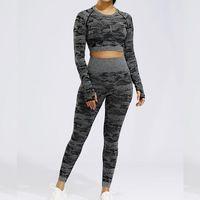 LANTECH Sports Suits Set Women Yoga Sets Gym Fitness Athletic Pants Camouflage Leggings Sportswear Seamless Sports Shirts1