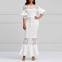 2019 Yaz Clocolor Zarif Uzun Kadın Elbiseler Beyaz Dantel Slash Boyun Mermaid Elbiseler Seksi Hollow Dantel-up Bodycon Parti Maxi Vestidos