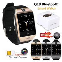 Q18 Smart Watches Curved Screen Bluetooth phone With Camera Tf Sim Card Slot For Android Samsung iphone box
