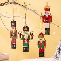 Деревянный орех солдат подвеска с рождественской елкой солдат подвеска украшения красочные напечатанные деревянные висит солдат орнамент DHD8971