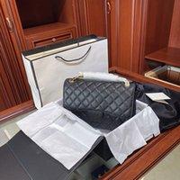 CF Lady Wallet Mujeres Bolsas 2021 Bolsa de corderos Classic Moda Hombro Pochette Caviar Cuero Dorado Cadena de Plata Bolsos de Lujo Diseños Monedero