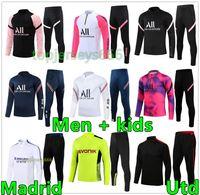 21 22 Survêtement de football psg real madrid hommes + enfants 2021 2022 survetement foot soccer tracksuit training jogging