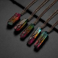 Necklace Sedmart 7chakra Rainbow Natural Stone Copper Wire Pendant for Women Men Long Chain Tree of Life Statement Jewelry Gift