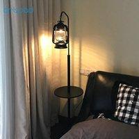 Напольные лампы ArtPad Nordic Nostalgia LED свет Урожай керосин возле лампы, стоя с деревянной полкой основания для гостиной