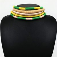 Liffly Brand Ожерелье Серьги Многослойные Тканые Ювелирные Изделия Choker Ожерелье Свадебные Свадебные Африканские Бусы Ювелирные Изделия Для Женщин 1023 T2