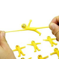 Soft rubber little yellow man doll toy smiley expression can be stretched in half creative vent toys children gift