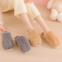 Slippers 2021 Winter Home Furry Slides For Women Cute Cat Design Platform Plush Nonslip Couples Bedroom Fuzzy Shoes