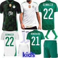 VERSÃO DE JOGADORES VERSÃO ALGERIE 2021 HOME WHITE FORA DE VERDE VERDE JERSERYS MAHREZ FEGHOULI BENNACER ATAL 20 21 Argélia Kits de futebol Camisa Men + Kids Conjuntos Maillot de pé