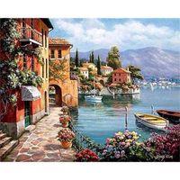 Envío, Pintado a mano Casa costera Landscape Gratis Pintura al óleo sobre lienzo Alta Calidad Decoración para el hogar Pared Multi Tamaños L224