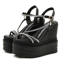 Sandals Platform Wedges Comfy Women On Sale Bling Crystal Party Nightclub Wear Female Footwear Cool Ankle Strap