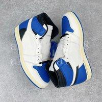 Travis Scotts 1 elevato scarpe da basket frammento jumpman 1s cactus jack jack militare blu sport sneakers designer formatori zapatos US5-13