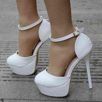 Sandals Crystal queen White sandals 14CM High Heel platform Fashion shoes Platform Foot print Round Shoes Summer Sexy Dressed Pole E8IM