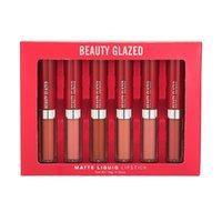Belleza acristalada 6 colores labios labios conjunto rojo mate líquido lápiz labial impermeable antiadherente taza natural color natural maquillaje lipgloss