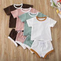 Clothing Sets 2021 Baby Boys Girls Summer Born Kids Ribbed Knitted Short Sleeve T-shirts+Shorts Tracksuits