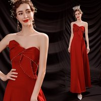 Red Crystal Pearls Satin Strapless Long Evening Dresses A-Line Bow Lace-up Ankle-Length Sexy Runway Fashion