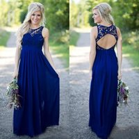 2021 Country Style Royal Blue Lace And Chiffon A-line Bridesmaid Dresses Long Cheap Jewek Cut Out Back Floor Length Wedding Guest Dress