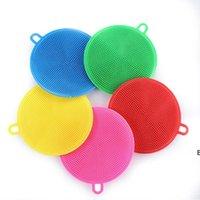 Silikon Çanak Kase Temizleme Fırçası İşlevli 5 Renkler Ocouring Ped Pot Pan Yıkama Fırçalar Temizleyici Mutfak Yıkama Aracı DHB6337
