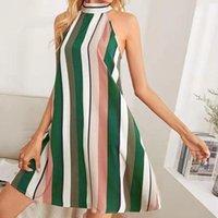 Casual Dresses Women's Summer Sleeveless Halter Printing Emprie Swing Short Dress Robe Femme Vestidos For Women 2021