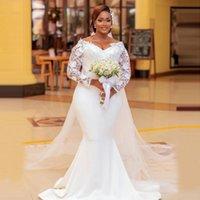 Stunning Lace Mermaid Wedding Dresses Off The Shoulder Neck Plus Size Bridal Gowns Long Sleeves Sweep Train Satin Vestido De Novia