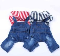 Dog Cat Denim Striped Jumpsuit Hoodie Jean Pet Puppy Coat Jacket Spring Summer Clothes Apparel 3 Colours