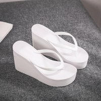 Slippers Low Women Summer Shoes Woman 2021 On A Wedge Rubber Flip Flops Heeled Mules Candy Colors Platform Shale Female Beach