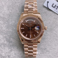 أعلى U1 factorty الماس البني الطلب روز الذهب تاريخ اليوم ولي ووتش 41 ملليمتر الياقوت الأصلي مشبك بلو راي المكبر الرجال ساعة اليد R116811