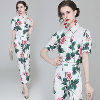 Fashion Trend Girl Two Piece Set Shirt and Pants Short Sleeve High End OL Summer Blouse Pants Ladies Suits