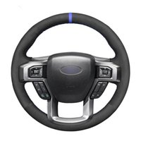 Steering Wheel Covers Hand Sew Black Suede Car Cover For F-150 F-250 F-350 F-450 F-550 F-600 F-650 F-750 2021 2021-2021