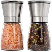Aço Inoxidável Manual Sal de sal moinho moinho de tempero garrafa de garrafa de vidro Accessários de cozinha ferramenta Premium Salt Moedor T500801