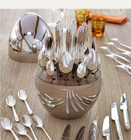 Muebles para el hogar Vajilla Trendy 24pcs Cuchillo Fork Christofle París Estado de ánimo Cubiertos Conjunto de chapado de acero inoxidable Huevo Tablewares Kit