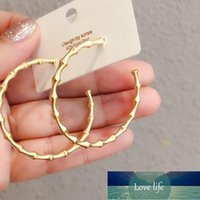 925 Sterling Silver Bamboo Matte Gold Color Large Hoop Earrings for Women Party Jewelry Best Friend Gift Wholesale S-E1252