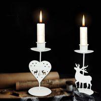 Tenedor de velas Christmas Tealight Holder Tea Metal Tea Luz Candle Hold Candle Hoja de Navidad Reno Reno Candlester Mesa Cocina Decoración