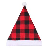 Pom Santa Hat Christmas Plaid Plush Hat Christmas Party Dress Up Decoration Santa Cap Gift Adult GWD11095
