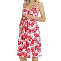 Летняя беременная женщина платья цветочная напечатанная мамочка одежда V-образным вырезом без рукавов подтяжки без рукавов на бередь беременности длинное платье